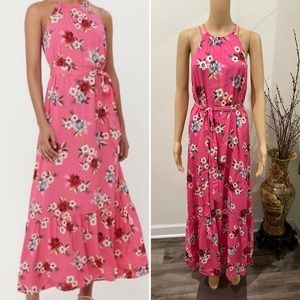 Loft floral pink maxi dress XS
